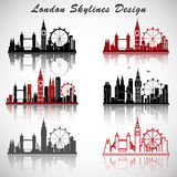 London City Skylines set with Typographic Design. eps10 vector Stock Images