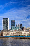 London city skyscrapers view over Thames River on Sunny Day Royalty Free Stock Image