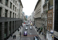 London city street. Elevated view of London city street scene Royalty Free Stock Images