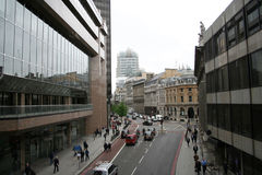 London city street. Elevated view of London city street scene Royalty Free Stock Photos
