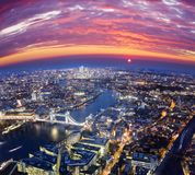 London city sunset. Mystic aerial view. United Kingdom Royalty Free Stock Image