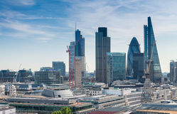 London City sunset. View on business modern district Royalty Free Stock Photos