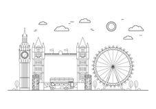 London City Thin Line Art. Vector Stock Image