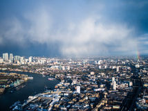 London city about to rain. Canary wharf about to get wet Royalty Free Stock Photo