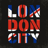 London city typography. Great Britain flag for t-shirt print. T-shirt graphics. Vector Stock Photo