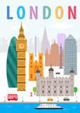 London City. A vector illustration of London of England, and some of its landmark architecture Stock Image