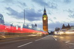 London city view with Big Ben and car traffic. At evening Royalty Free Stock Photo