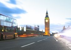 London city view with Big Ben and car traffic. At evening Stock Image