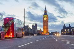 London city view with Big Ben and car traffic. At evening Royalty Free Stock Photos