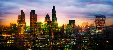 LONDON, City of London view at sunset includes skyscrapers of business aria at sunset. UK Royalty Free Stock Photography