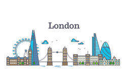 London city view, urban skyline with buildings, europe landmarks modern flat vector illustration Royalty Free Stock Photo