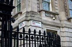 Whitehall and Downing Street signs, City of Westminster. London, United Kingdom. royalty free stock photos