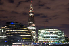 London Cityscape. Including City Hall and River Thames at Night, seen from Tower Bridge - UK Royalty Free Stock Photography