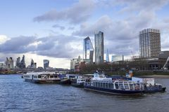 London cityscape across the River Thames with a view including One Blackfriars, Leadenhall and 20. LONDON, UK - MAY 20, 2017. London cityscape across the River royalty free stock images