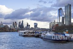 London cityscape across the River Thames with a view including St Pauls, Leadenhall and 20 Fenchurch. LONDON, UK - MAY 20, 2017. London cityscape across the royalty free stock photos