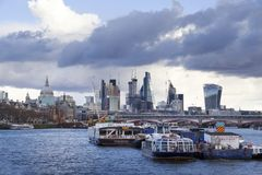 London cityscape across the River Thames with a view including St Pauls, Leadenhall and 20 Fenchurch. LONDON, UK - MAY 20, 2017. London cityscape across the royalty free stock photography