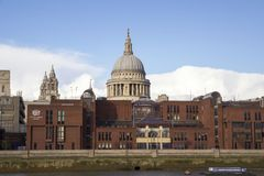London cityscape across the River Thames with a view of St Pauls Cathedral, London, England, UK, May 20. LONDON, UK - MAY 20, 2017. London cityscape across the royalty free stock images