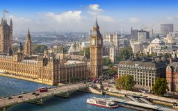 London cityscape with Big Ben on a sunny day. LONDON, UK - September 19, 2014: Panoramic view of London with Big Ben, House of Parliament and Westminster bridge Royalty Free Stock Photography