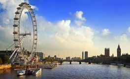 London Cityscape with London Eye  in early evening Stock Photos