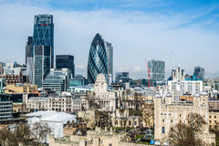 London cityscape including The Gherki. London cityscape about three high buildings including The Gherkin Royalty Free Stock Image