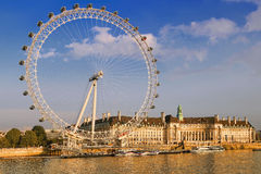 London Cityscape with London Eye in afternoon royalty free stock photo