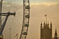 London cityscape of the London Eye and Tower sepia coloured Royalty Free Stock Image