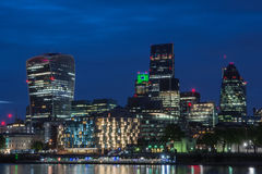 London cityscape at night. Futuristic skyscrapers in city of london  at night Stock Image