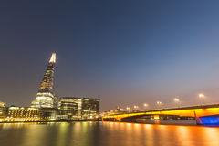 London cityscape at night, long exposure. Stock Image