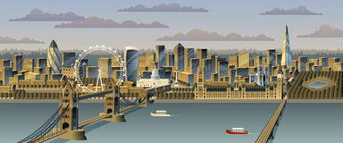 London. Cityscape. No transparency used. Basic (linear) gradients vector illustration