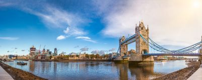 London cityscape panorama with River Thames Tower Bridge and Tow. Panoramic London skyline with iconic symbol, the Tower Bridge and Her Majesty`s Royal Palace stock photo
