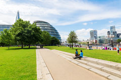 London cityscape seen from the Thames promenade at Southwark Royalty Free Stock Photography