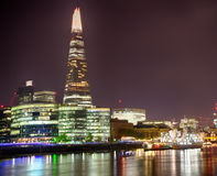 London Cityscape and Shard at night HDR Stock Images
