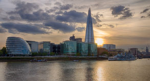 London Cityscape and Shard at sunset HDR. Evening shot of the London city council at the bank of the River Thames with the famous Shard skyscarper in the Royalty Free Stock Photo