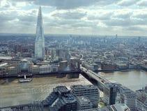 London Cityscape Skyline View. Thames Looking South, Shard, London Bridge. Stock Image