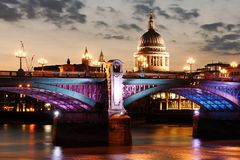 London sightseeing at nightfall: London Bridge and Royalty Free Stock Photo