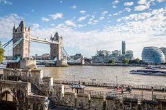 London cityscape from The Tower. LONDON, UK - AUGUST 21, 2015:  London Cityscape from the Tower of London with the bridge and the new City Hall designed by Royalty Free Stock Image