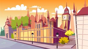 Lodon day cityscape vector cartoon illustration stock illustration