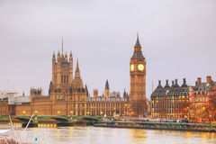 London with the Clock Tower and Houses of Parliament Stock Photo