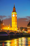 London with the Clock Tower and Houses of Parliament Stock Image