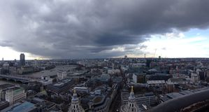 London. Clouds hover over London on a rainy day Royalty Free Stock Image
