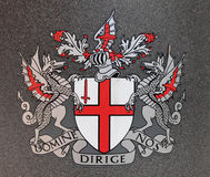 London coat of arms. Coat of arms flag of the City of London, UK Royalty Free Stock Photos