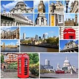 London collage. Photo collage from London, UK. Collage includes major landmarks like Big Ben, Saint Paul's Cathedral and red telephone booths Royalty Free Stock Images