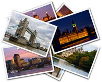 London Collage. Collage of photos of London Great Britain on the white background Stock Photography
