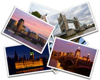 London Collage. Collage of photos of London Great Britain on the white background Stock Photos