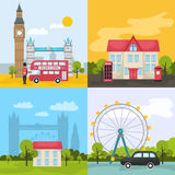 London Colored Compositions. With four square icon set about tourist places and attractions vector illustration Royalty Free Stock Photos