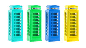 London colorful telephone boxes(souvenir) on white background Stock Image