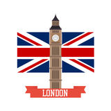 London concept. Big ben flat design with england flag Stock Images