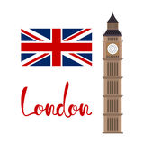 London concept. Big ben tower with flag and lettering Royalty Free Stock Photography