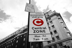 London congestion charge zone sign. Congestion Charge Zone Sign, introduced 2003 to reduce congestion in central London and to raise funds for TfL, The standard Royalty Free Stock Photos