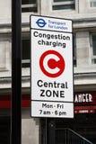 London congestion charge zone sign. London, UK - April 30, 2012: Congestion Charge Zone Sign, introduced 2003 to reduce congestion in central London and to raise Royalty Free Stock Photography